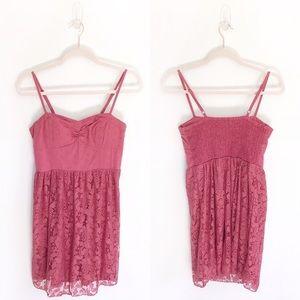 American Eagle Mauve Pink Lace Mini Dress